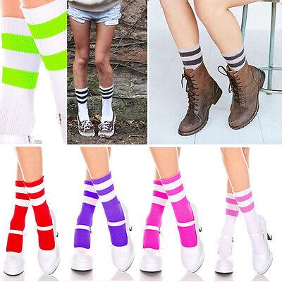 Bright Opaque Striped Ankle High Cute School Girl Halloween Costume Tube Socks