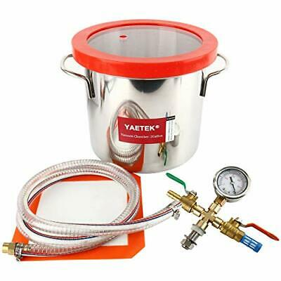 2 Gallon Vacuum Chamber Stainless Steel Kit 160f Silicone Gasket Epoxies Degass