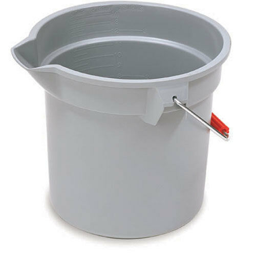Rubbermaid Commercial FG296300GRAY Brute HDPE Heavy-Duty Bucket, 10-quart, Gray