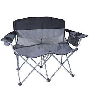 Heavy Duty Camping Chair Xxl Folding Loveseat Two Person Hunting Furniture Sport