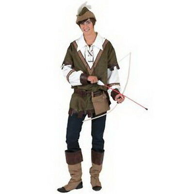 Robin Hood Tunic (Robin Hood Costume 6 Pc Gr/Br Faux Suede Tunic Hat Boot Tops & Belt W/ Pouch)