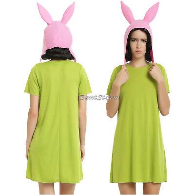 Licensed Bobs Burgers Louise Belcher Cosplay Costume Dress & Bunny Ears Hat 4-10 - Bob Belcher Costume