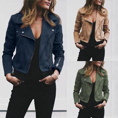 Women Fashion Slim Short Biker Motorcycle Soft Suede Zipper Jacket Outwear Coat