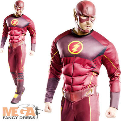 Deluxe The Flash Mens Fancy Dress Muscle Superhero Comic Adults Costume - Deluxe Adult Flash Kostüm