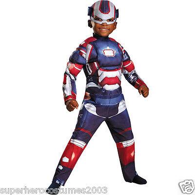 Iron Man 3 Iron Patriot Toddler Muscle Costume ARC REACTOR GLOWS! SIZE 2T - Ironman Toddler Costume