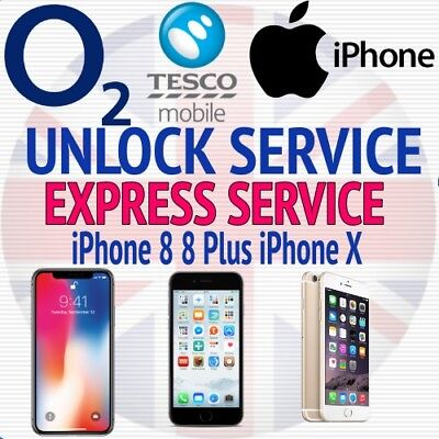 UNLOCK SERVICE for iPhone 4S 5 5S 6 6S 6S+ 7 7+ 8 8+ X  O2 TESCO GIFFGAFF UK