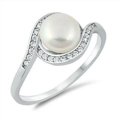 Clear CZ Freshwater Pearl Swirl Ring .925 Sterling Silver Band Sizes 4-10 - Freshwater Pearl Swirl Drop