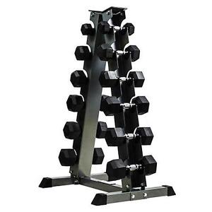 5 - 30lbs Rubber Dumbbell Set with 6-Pair Dumbbell Rack