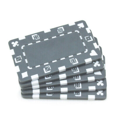 10 Gray 32g Blank Rectangular Square Poker Chips Plaques New - Buy 2, Get 1 Free