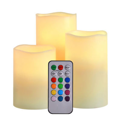 3 pcs 12 Color Changing LED Light Flameless Candles Remote Control Wedding](Colored Flameless Candles)