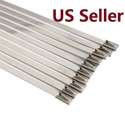 10 Pcs Self-locking Stainless Steel Cable Ties Exhaust Wrap Coated Zip Tie 11.8