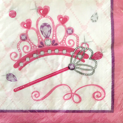 PINK PRINCESS LUNCH NAPKINS (20) ~ Birthday Party Supplies Serviettes Dinner