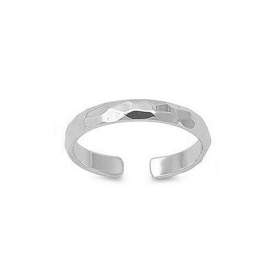 925 Sterling Silver 3mm Hammered Band Adjustable Size Toe Ring
