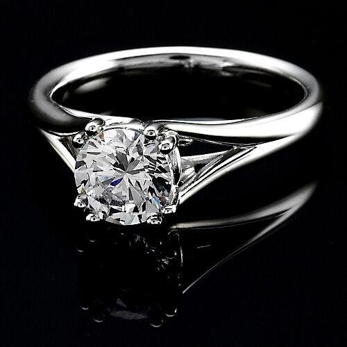 1.01 CT ROUND CUT NATURAL DIAMOND ENGAGEMENT RING 14K WHITE GOLD