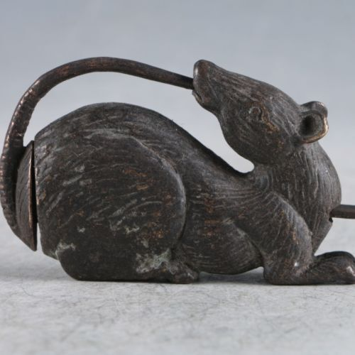 Rare Chinese old style Brass Snake Figure lock//key