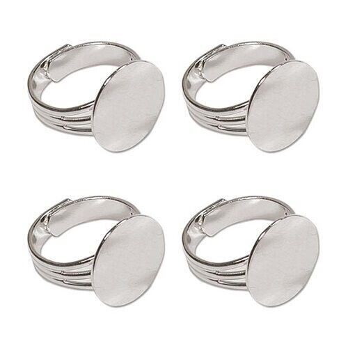 5 SILVER PLATED Adjustable Finger RING BLANKS 16mm pad ~ NICE Sturdy Wide Band