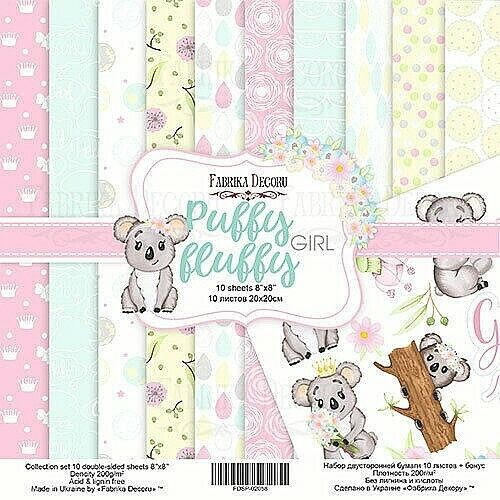 8%22+x+8%22+scrapbooking+paperpad+cardstock+Puffy+Fluffy+Girl+10+designs+x+2+sheets
