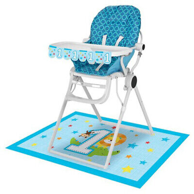 Boy High Chair Kit - 1st BIRTHDAY One is Fun Boy HIGH CHAIR DECORATING KIT ~Party Supplies Room Decor