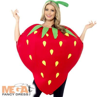 Strawberry Adults Fancy Dress Food Fruit Novelty Mens Ladies Costume Outfit New (Fruit Lady Costume)