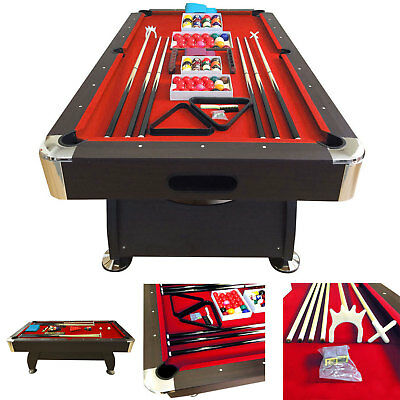 8 Feet Billiard Pool Table Snooker Full Set Accessories Game Mod  Vintage Red 8