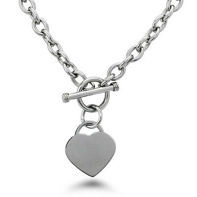Stainless Steel Heart Charm Tag Toggle Necklace 18"
