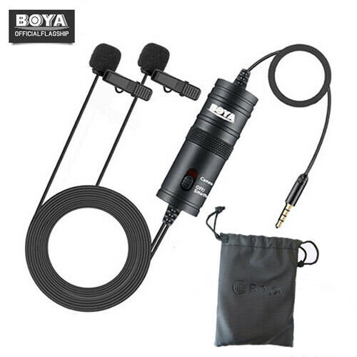 BOYA BY-M1DM Dual Head Lavalier Microphone for DSLR Canon Nikon Smartphones