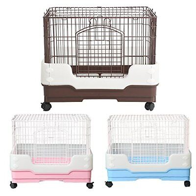 "New 25"" Rabbit Chinchilla Ferret Bunny Pet Cage Crate w Tray, Urine Guard Castor"