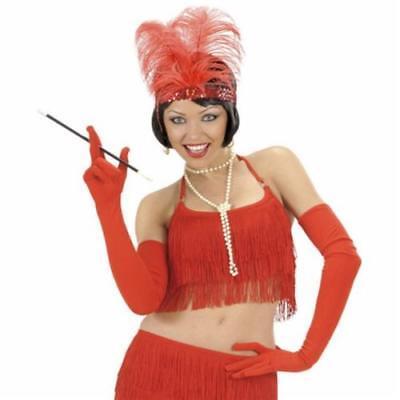 LANGE ROTE HANDSCHUHE 60 cm Karneval Charleston Party Kostüm Zubehör 3421 ()