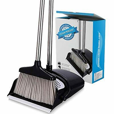 CLEAN PERCENT Broom and Dustpan Set Strongest Heavier Duty Upright Standing D...