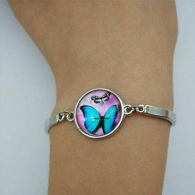 Butterfly Glass Tibetan Silver Charm Infinite Bracelet Jewelry