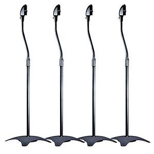 4-Universal-Surround-Sound-Speaker-Stands-Black-2-Pair-Stand-New