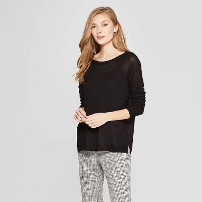 A New Day-Women's Long Sleeve Crew Neck Pullover Sweater Black M