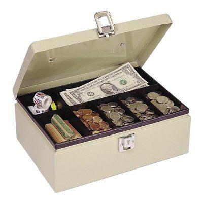 Mmf Cash Box With Latch Lock - Steel - Sand - 4 Height X 11 Width X 7.8 Depth