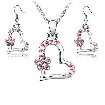 Kinder Kette + Ohrringe mit Swarovski® Kristall Silber Rosa Mädchen Herz Blume