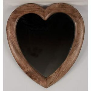 Large Love Heart Wall Mirror 58 X 52cm Solid Mango Wooden Frame New Ebay