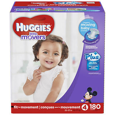 Huggies Little Movers Plus Diapers Size 4 180 Ct SEALED!!!
