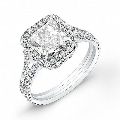 3.80Ct Radiant Cut Halo U-Set V-Shank Diamond Engagement Ring H,VS1 GIA Platinum