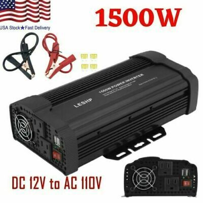 1500W Car Solar Power Inverter DC 12V To AC 110V Sine Wave Converter 3000W lL