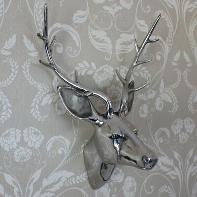 Metal polished silver wall art hanging stag deer head decoration ornament gift