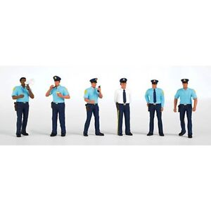 Bachmann-33104-HO-Scale-Police-Squad-Plastic-Figures-6-Cops-Highly-Detailed