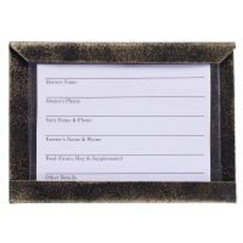 Tough-1 BLACK Metal Stall Card Holder with Card & Plastic Cover