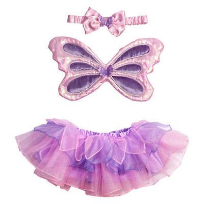 Kleine Fee Kleinkind Kostüme (Baby Kleinkind Tutu Wings Erste Fee Bekleidungsset Kostüm Lila Rosa 18/3)