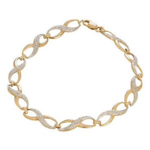 9ct Gold Diamond Loop Twist Bracelet (Retail £200)