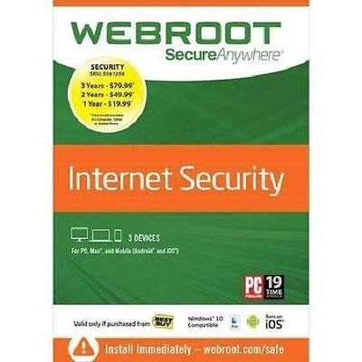 Webroot Internet Security Plus 2017 | 3 Devices | PC/Mac Disc