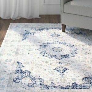 "Oversize Cream Rug with Blue/Gold details (7'10"" x 11'2"")"