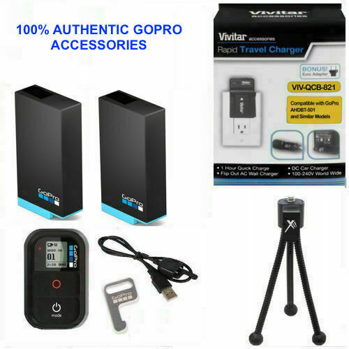 2X Battery for GoPro HERO8 BLACK AJBAT-001 + CHARGER 110-220V + REMOTE +TRIPOD