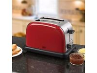 2 SLICE ELECTRIC TOASTER BY SWAN 1000 W BRAND NEW & RETAIL BOXED STAINLESS STEEL & RED RRP £40