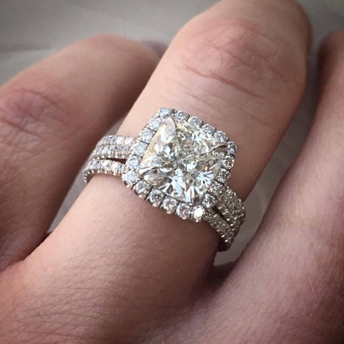 2.00ctw Natural Cushion Halo 3 Row Shank Pave Diamond Engagement Ring - GIA Cert
