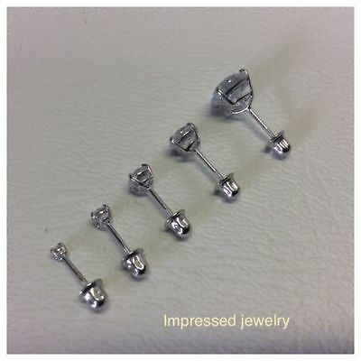 14k Solid White Real Gold Ladys Children CZ Studs Basket Setting Round Screwback ()