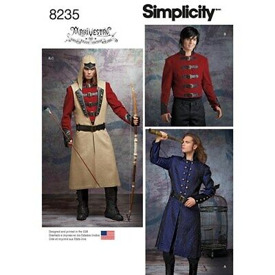 Simplicity 8235 Costume Cosplay Steampunk Medieval Gothic Pattern Sz Men's 46-52